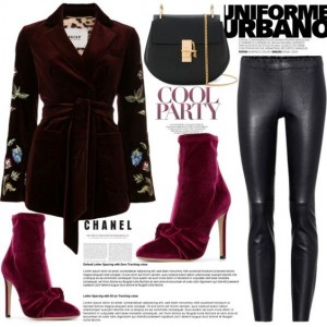 Burgundy Ankle Booties Stiletto Heel Velvet Boots with Bow