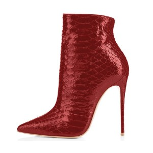 Burgundy Stiletto Heeled Boots Snake Leather Pointy Toe Ankle Boots