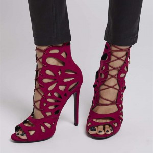 Burgundy Stiletto Heels Hollow Out Peep Toe Lace Up Strappy Sandals