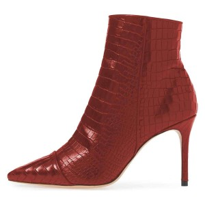 Burgundy Stone Pattern Stiletto Boots Ankle Boots