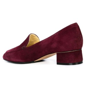 Burgundy Suede Block Heel Loafers for Women