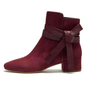 Burgundy Suede Boots Bow Chunky Heel Ankle Boots