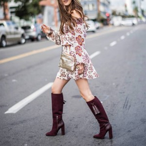 Burgundy Suede Boots Chunky Heel Knee High Boots with Tassel