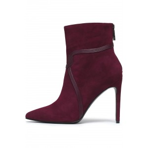 Burgundy Suede Boots Stripes Stiletto Heel Ankle Boots