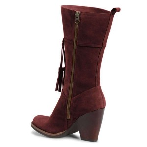 Burgundy Suede Boots Tassel Chunky Heel Mid Calf Boots