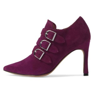 Burgundy Buckle Boots Pointy Toe Spool Heel Ankle Booties