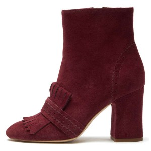 Burgundy Suede Fringe Chunky Heel Boots