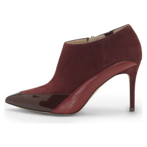 Burgundy Suede Pointy Toe Stiletto Boots