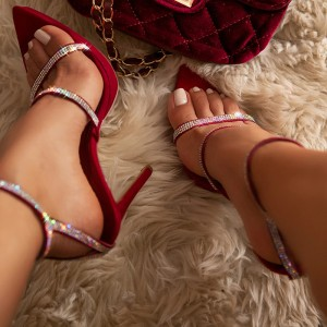 Burgundy Suede Rhinestone Ankle Strap Sandals Stiletto Heel Sandals