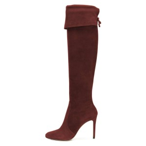 Burgundy Suede Stiletto Boots Over the Knee Boots