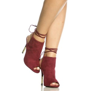 Women's Burgundy Strappy Stiletto Heels Suede Peep Toe Slingback Goolden Heels Pumps