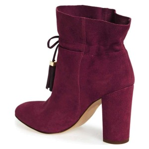 Burgundy Boots Suede Closed Toe Chunky Heel Tassel Ankle Boots
