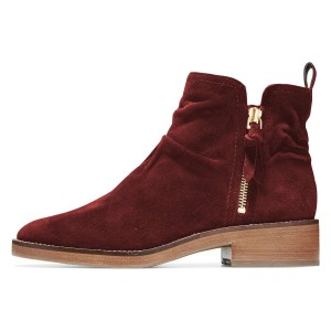 Burgundy Suede Zip Ankle Booties