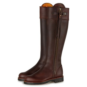 Maroon Tall Boots Round Toe Flat Vintage Boots
