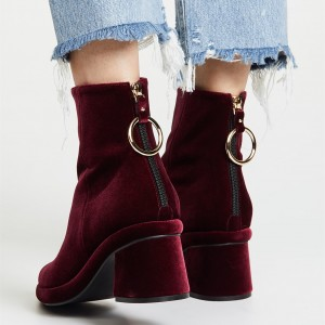 Burgundy Velvet Boots Pointy Toe Back Zipper Block Heel Ankle Boots