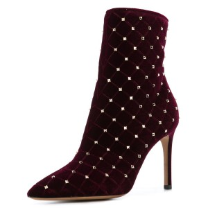 Burgundy Velvet Studded Boots Stiletto Heel Ankle Booties