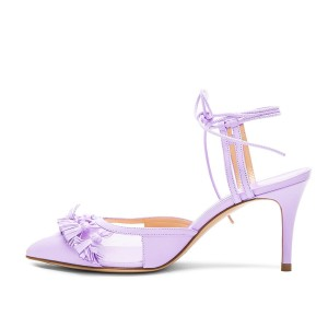 Purple Tassels Decorated Lace Up Ankle Strap Heels Stiletto Heel Sandals
