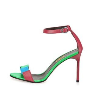 Coral Red Ankle Strap Stiching Color Open Toe Stiletto Heel Sandals