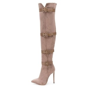 Camel Suede Four Straps Pointy Toe Stiletto Boots Over-the-knee Boots