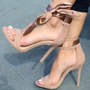 Nude Suede Stiletto Heel Bow Ankle Strap Sandals