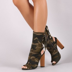 Army Green Chunky Heel Boots Peep Toe Slingbacks Fatigues Ankle Boots