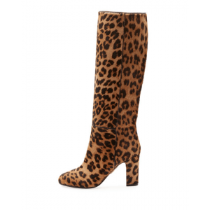 Brown Round Toe Leopard Chunky Heel Boots Suede Mid-calf Long Boots