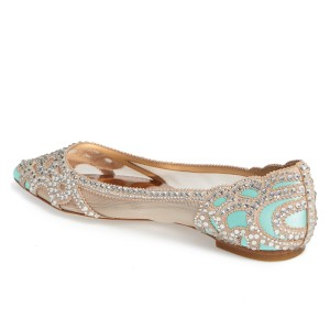 Champagne and Cyan Wedding Shoes Pointy Toe Rhinestone Flats