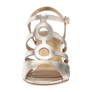 Champagne Chunky Heel Sandals Low Heel Slingback Sandals