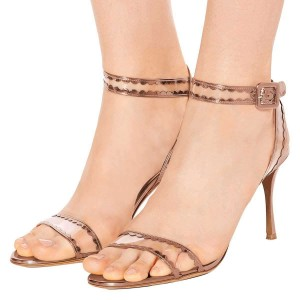Rose Gold Clear PVC Ankle Strap Heels Sandals