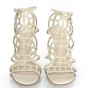 Champagne Dress Sandals Laser Cut Rhinestone Hotfix Cage Sandals
