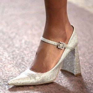 Champagne Glitter Shoes Chunky Heel Mary Jane Pumps