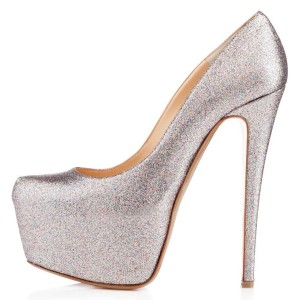 Champagne Glitter Shoes Super Stiletto Heels Platform Pumps