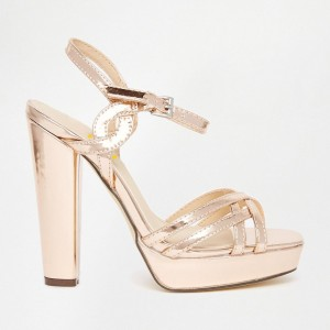 Women's Gold Platform Heels Buckle Chunky Heel Ankle Strap Sandals
