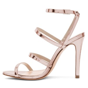 Champagne Mirror Leather Stiletto Heel Four-straps Ankle Strap Sandals