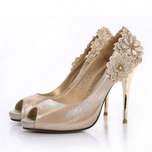 Champagne Lace Flowers Wedding Shoes Peep Toe Stiletto Heels