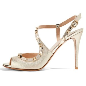 Champagne Peep Toe Studs Shoes Stiletto Heel Sandals