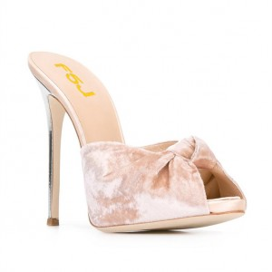 Blush Velvet Mule Heels Peep Toe Bow Stiletto Heels for Office Lady