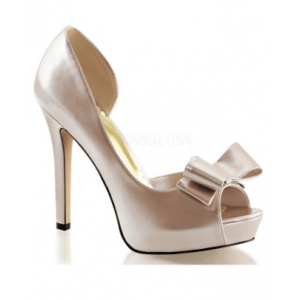 Champagne Peep Toe Wedding Shoes Platform D'orsay Pumps with Bow