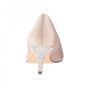Blush Satin Rhinestone Low Heel Wedding Shoes Pointy Toe Pumps