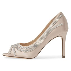 Champagne Satin Evening Shoes Rhinestones Peep Toe Stiletto Heel Pumps