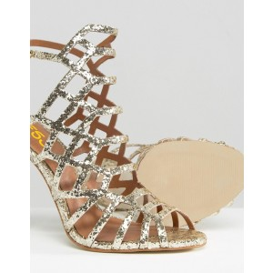 Women's Golden Glitter Stiletto Heel Caged Bridal Sandals