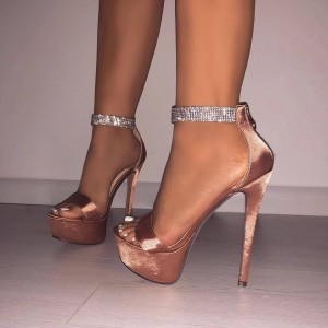 Champagne Stiletto Heels Open Toe Sparkly Platform Ankle Strap Sandals