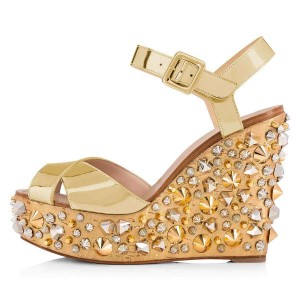 Champagne Studs Cross Over Platform Wedge Sandals