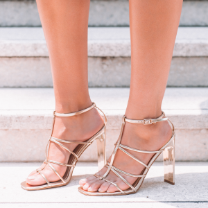 Champagne T Strap Sandals Open Toe Chunky Heel Sandals