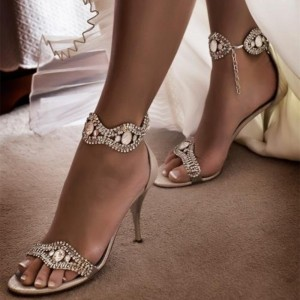 Champagne Wedding Sandals Rhinestone Ankle Strap Stiletto Heels