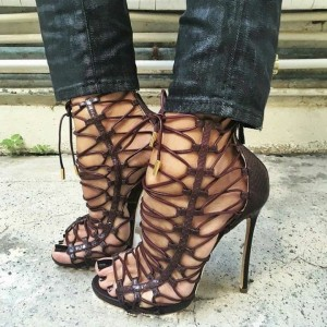 Chocolate Python Lace Up Strappy Heels Sandals