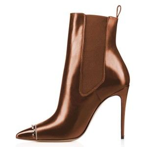 Chocolate Studded Pointy Toe Stiletto Boots Fashion Ankle Booties