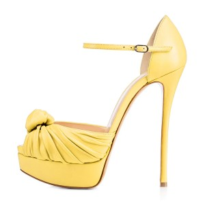 Women's Yellow Tie Peep Toe Stiletto Heels Platform Sandals