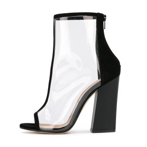 Women's Black Transparent Peep Toe Ankle Chunky Heel Boots