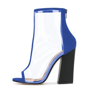 Women's Blue Transparent Peep Toe Ankle Chunky Heel Boots